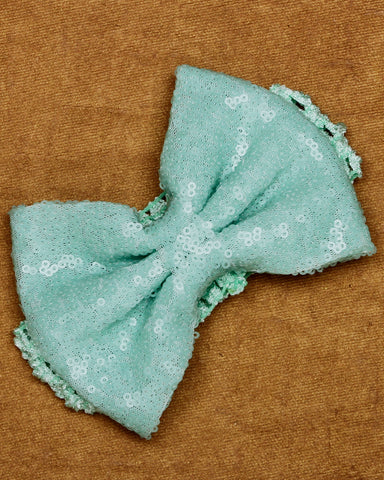 Big Sequin Bow Headband - Blue