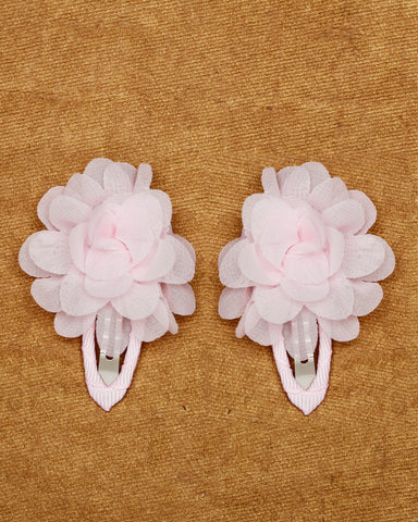 A pair of floral tic-tac hair clips - Baby pink
