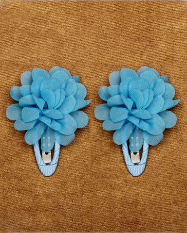 A pair of floral tic-tac hair clips - Sky blue