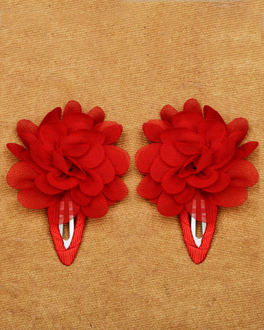 A pair of floral tic-tac hair clips - Red