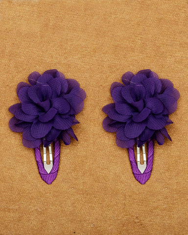 A pair of floral tic-tac hair clips - Midnight Blue