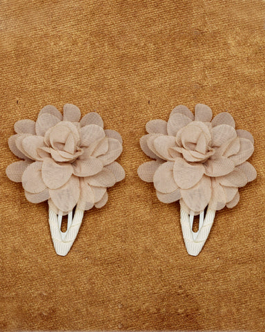 A pair of floral tic-tac hair clips - Flaxen yellow