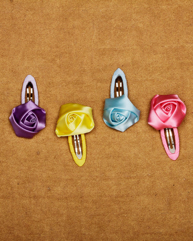 Combo  pack of 4 floral tic-tac hair clips