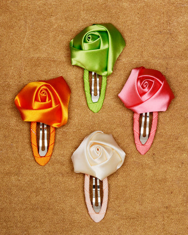 Combo pack of 4 floral designed tic-tac hair clips