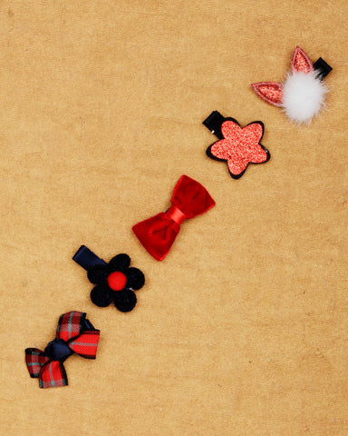 Combo of 5 red shade alligator hair clips