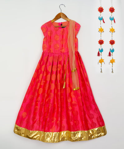 Coral Gold Mandala Brocade Gown