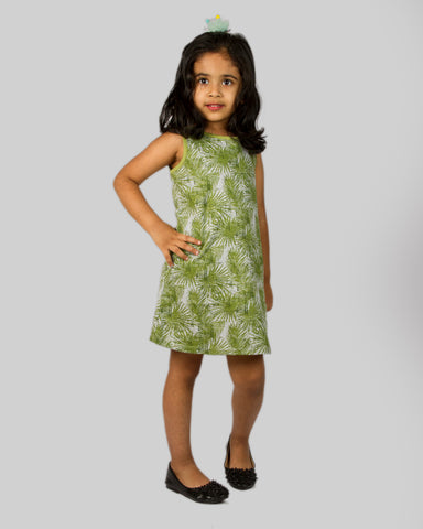 Grey base green leaf printed Aline dress