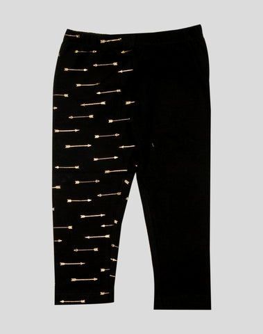 Black in Black 3/4th Leggings with Glitter Arrows