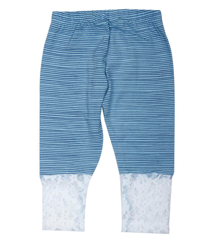 Blue base black stripe 3/4th infant lace Legging