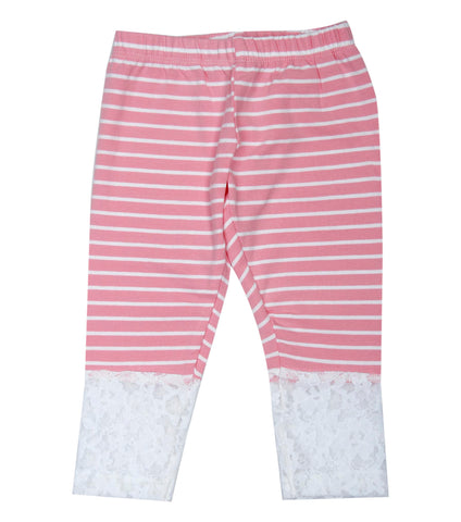 Pink base white stripe 3/4th infant lace Legging