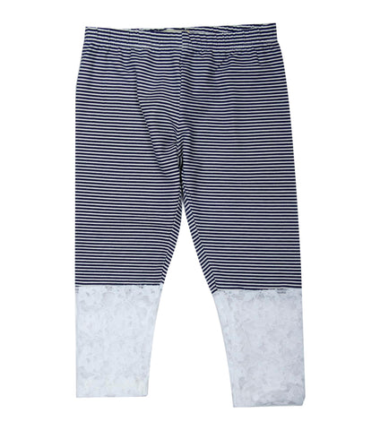 Navy stripe 3/4th lace Legging