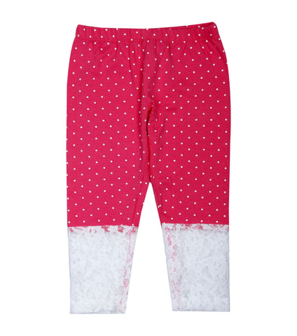 Pink base white polka dot printed 3/4th lace Legging