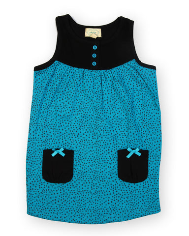 Green dots black pocket dress