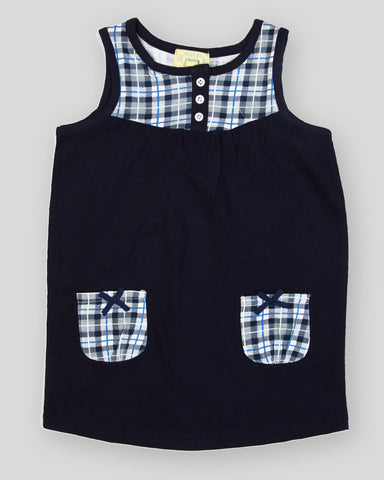 Navy solid navy checks pocket dress