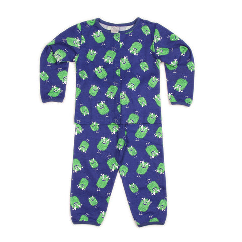 Monster Print Blue Top and Pant Set