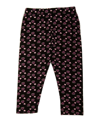 Black Hearts Printed 3/4th Legging
