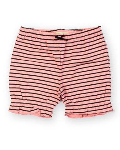 L.Orange black stripe printed shorts