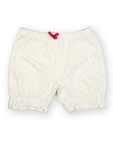 White base pink dot printed shorts
