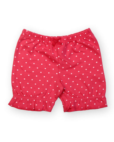 Pink base white polka dot printed shorts