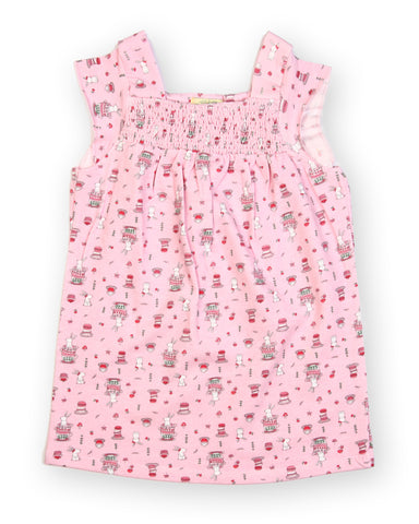 Baby Pink base cake printed Smocking Dress