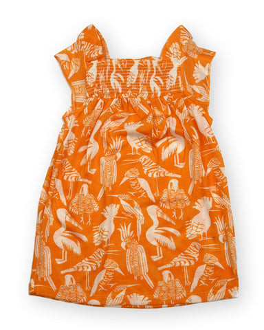 Orange base bird printed Smocking Dress