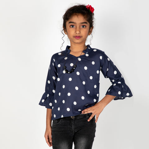 Navy Polka dot Tops