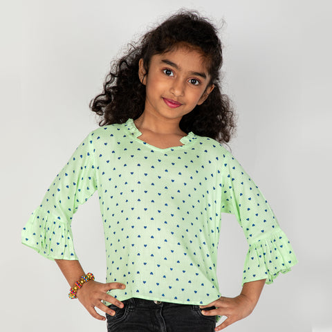 Green Polka dot Tops