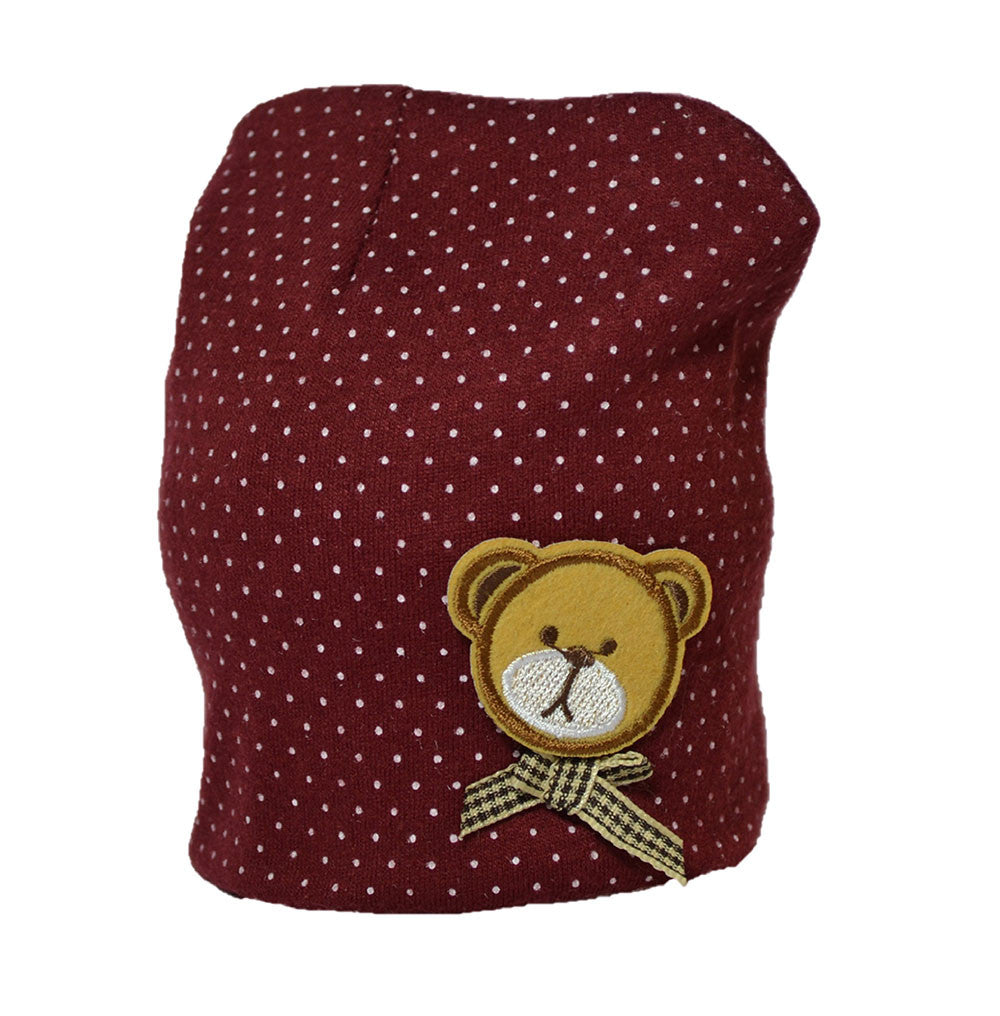 Cotton Baby Cap with cute little bear - Brown