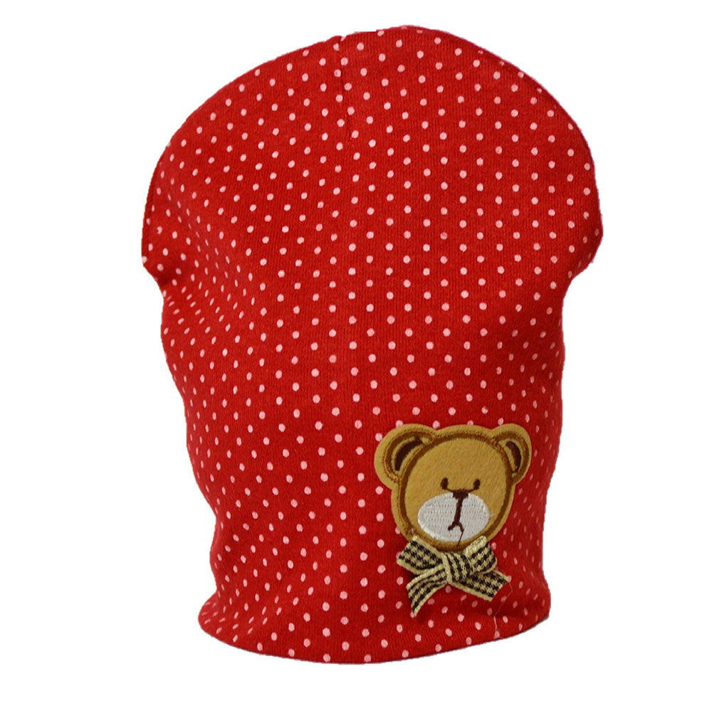 Cotton Baby Cap with cute little bear - Red