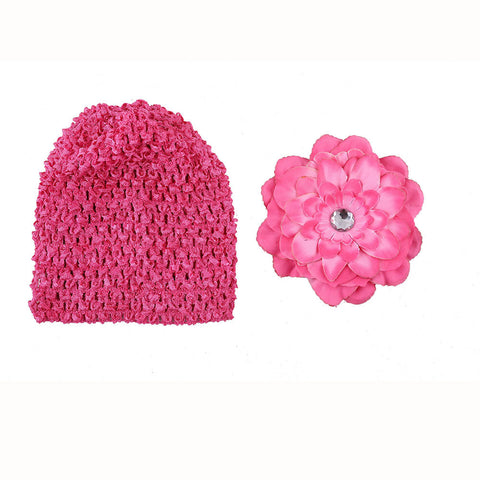 Crochet cap with clip on flower- Fuschia