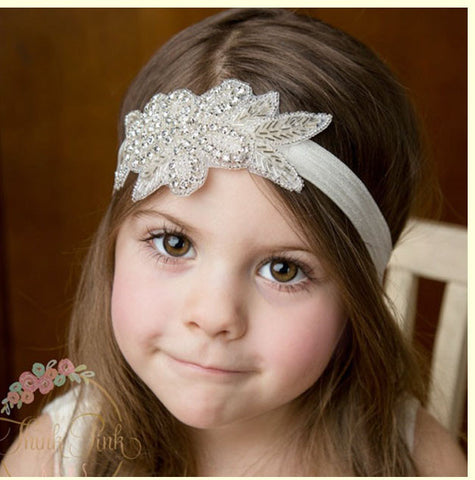 Bethany Beaded Headband - White