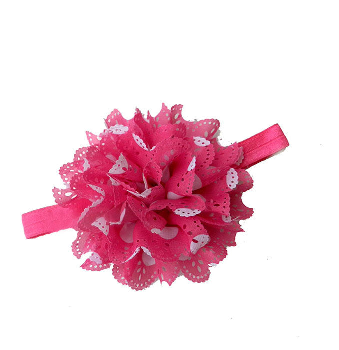 Pikaboo Cutwork Pink White Polka Dot Big Flower Headband