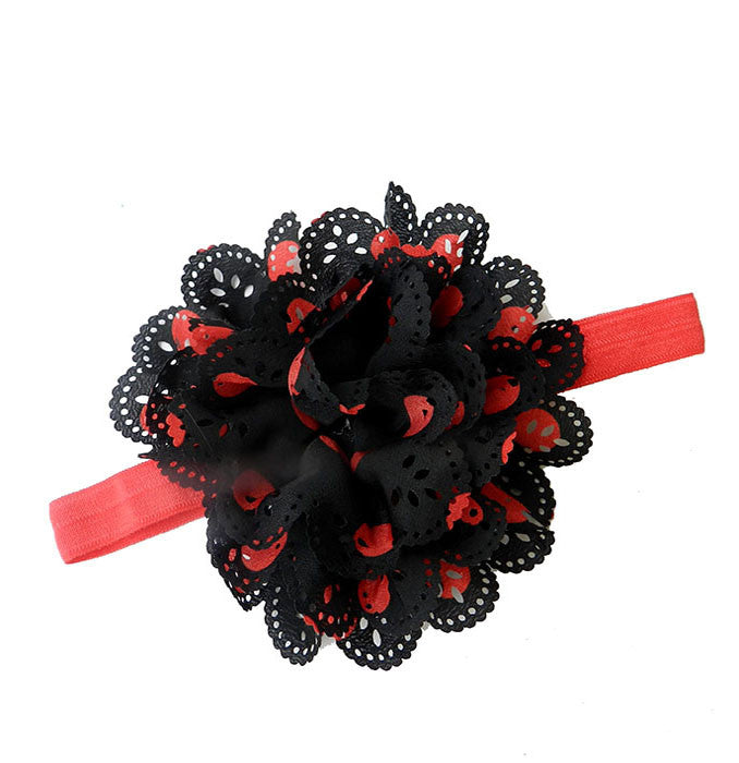 Pikaboo Cutwork Red Black Polka Dot Big Flower Headband