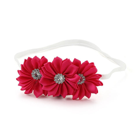 Pretty blooms on white headband - Fuchsia