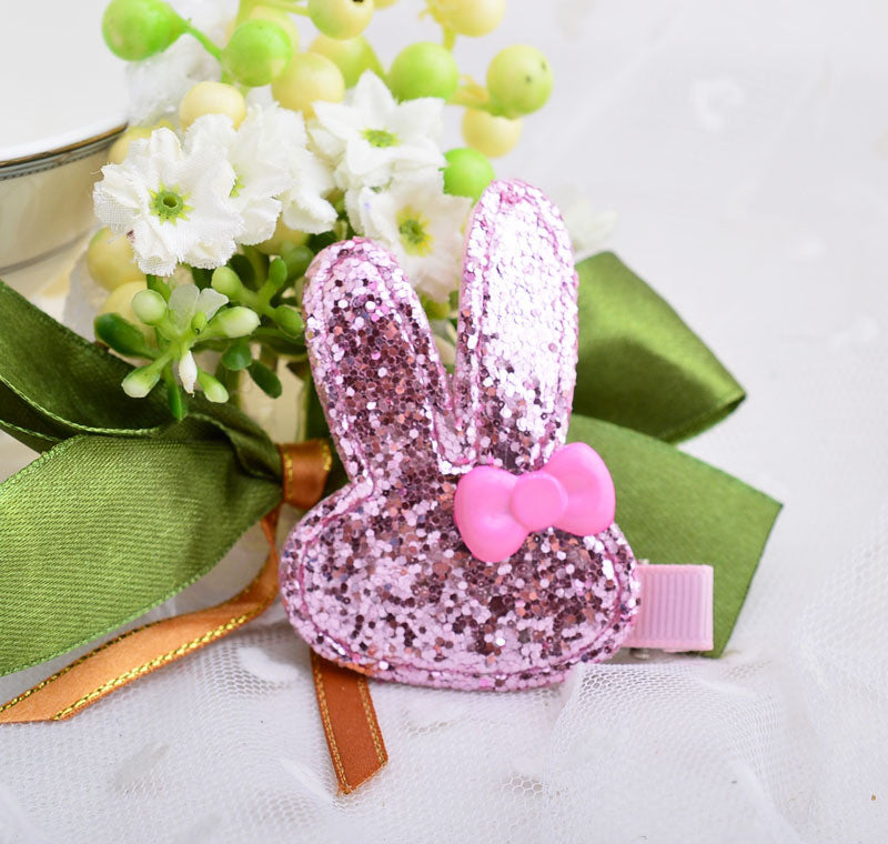 Bunny Glitters hairclip - Baby Pink