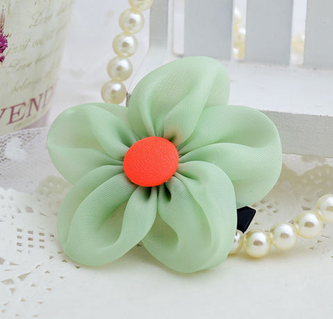 Chiffon Button flower clip - Green