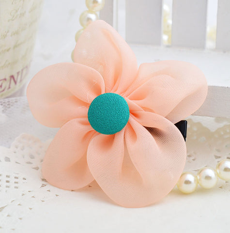Chiffon Button flower clip - Peach