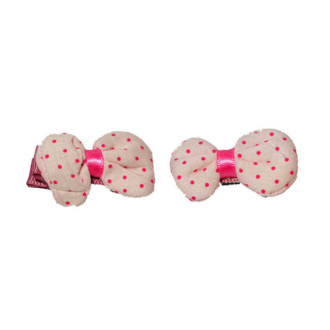 Puffy bow clips - Pink on white