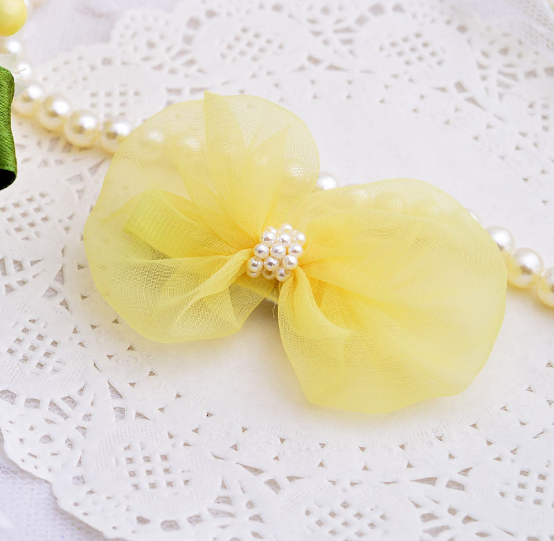 chiffon bow and delicate pearls - yellow