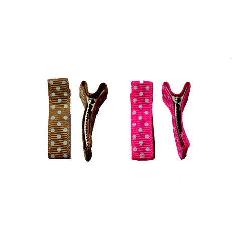 Polka Dot Alligator Clips - Brown and Fuchsia