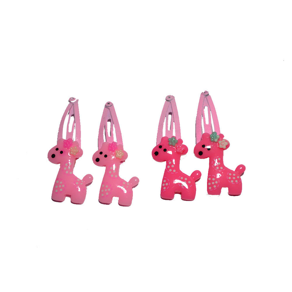 Miss Giraffe snap Clips - baby pink n blush pink