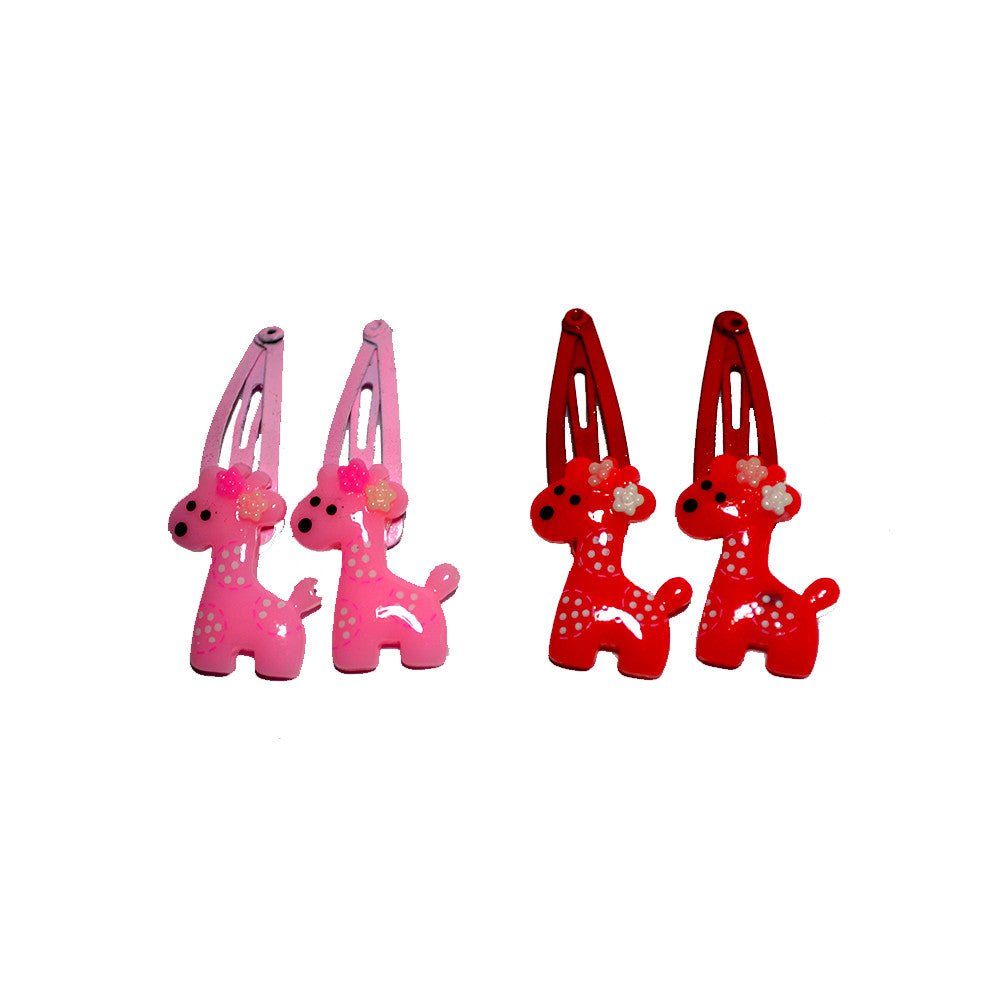 Miss Giraffe snap Clips - red n pink