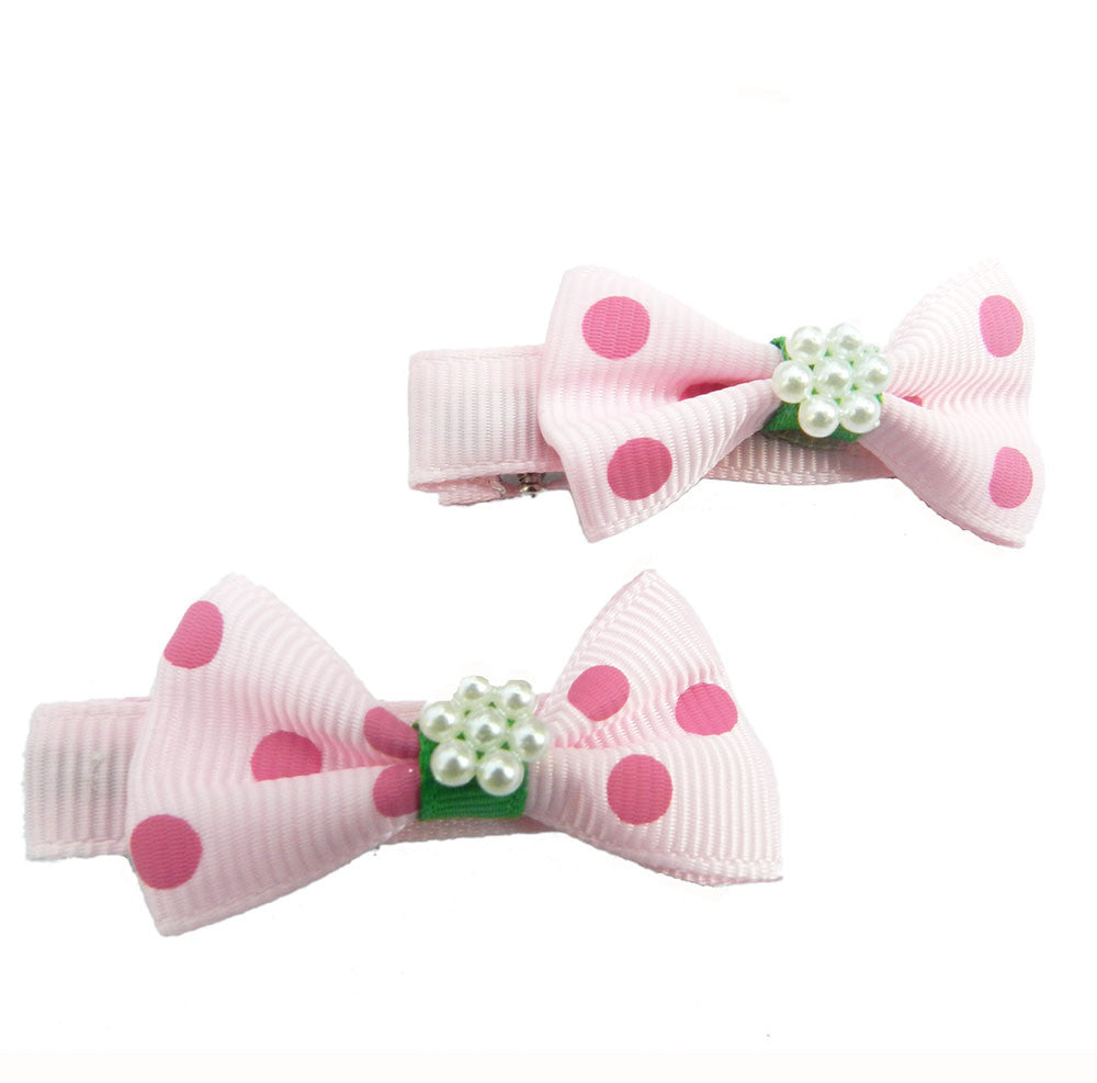Dainty bows with pearl - alligator clips