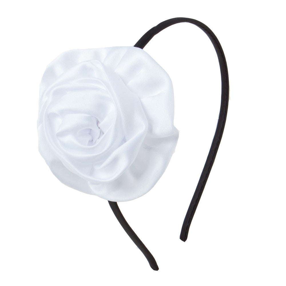 Rolled up rose Alice Band - White