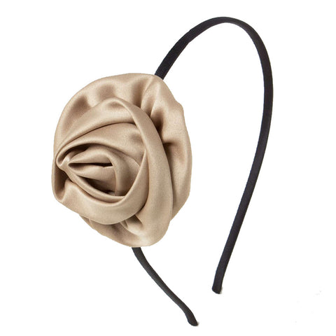 Rolled up rose Alice Band - Beige