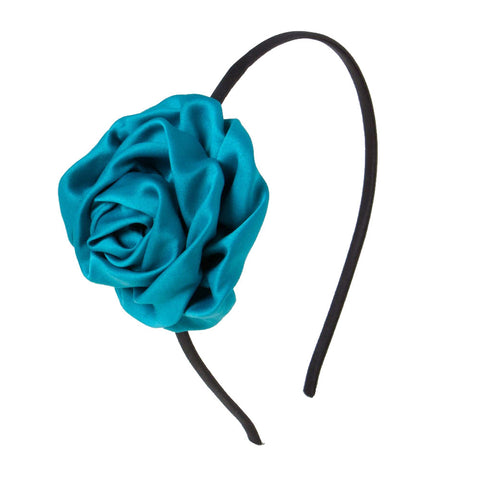 Rolled up rose Alice Band - Teal