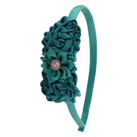 Twin rose crystal flower hairband-teal