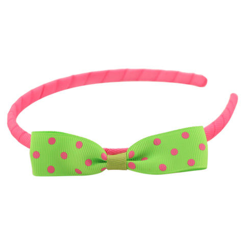 Green pink Grograin polka bow hairband