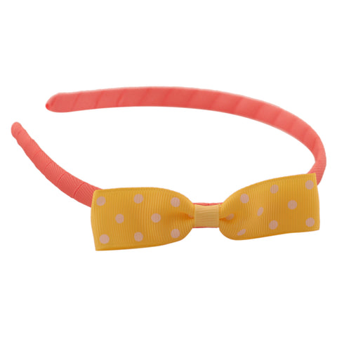 pink yellow Grograin polka bow hairband