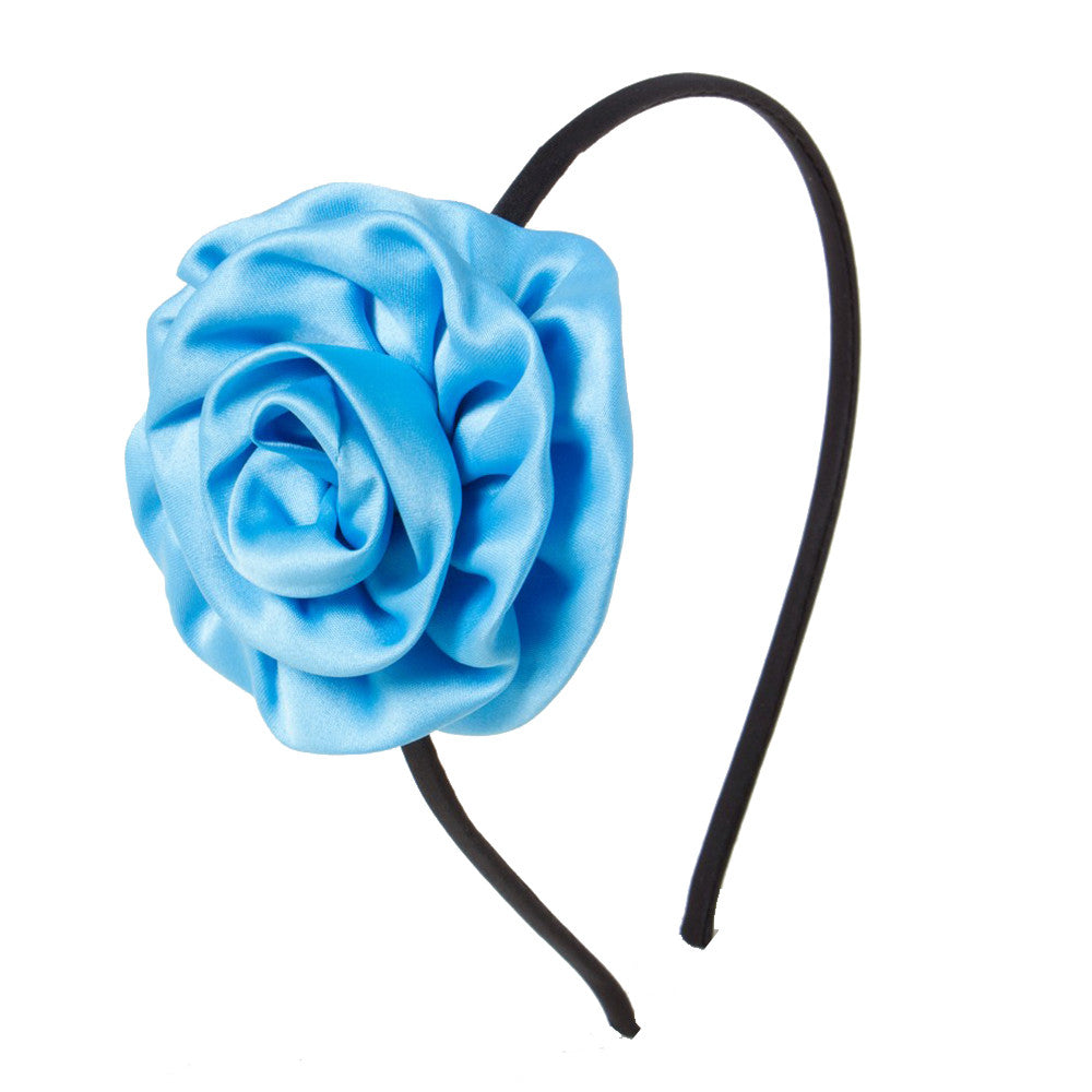 Rolled up rose Alice Band - Blue